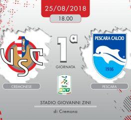 Cremonese-Pescara 1-1, tabellino e cronaca