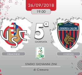 Cremonese-Cosenza 2-0, tabellino e cronaca