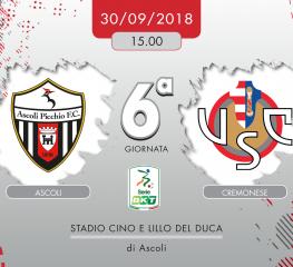 Ascoli-Cremonese 0-0, tabellino e cronaca