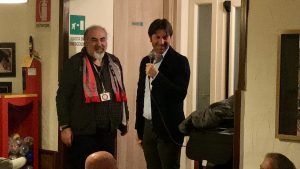 Ivan Brazzoli e mister Rastelli alla cena del Club Grigiorosso di Castelleone