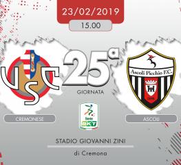 Cremonese-Ascoli 0-1, tabellino e cronaca