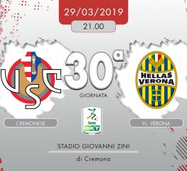 Cremonese-H. Verona 1-1, tabellino e cronaca