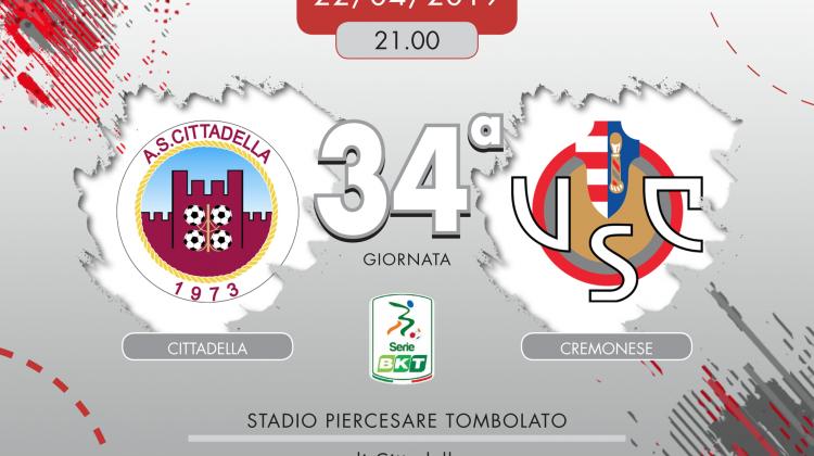 Cittadella-Cremonese 1-3, tabellino e cronaca