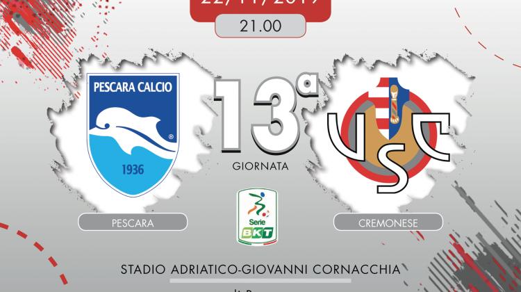 Pescara-Cremonese 1-1, tabellino e cronaca