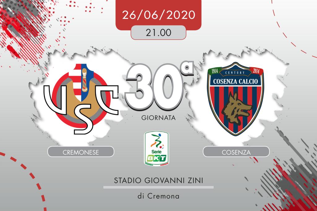 Cremonese-Cosenza 0-2, tabellino e cronaca
