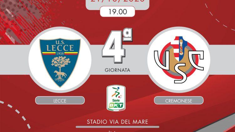 Lecce-Cremonese 2-2, tabellino e cronaca