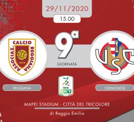 Reggiana-Cremonese 1-1, tabellino e cronaca