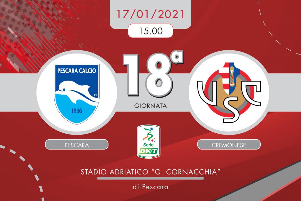 Pescara-Cremonese 0-2, tabellino e cronaca
