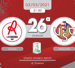 Vicenza-Cremonese 3-1, tabellino e cronaca