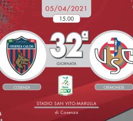 Cosenza-Cremonese 0-1, tabellino e cronaca
