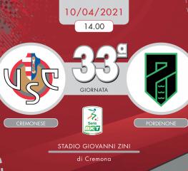 Cremonese-Pordenone 2-1, tabellino e cronaca