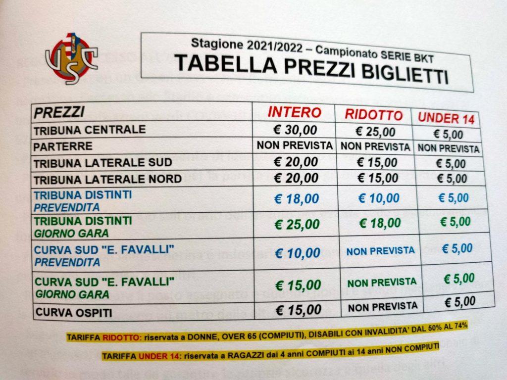 prezzo biglietti cremonese lecce